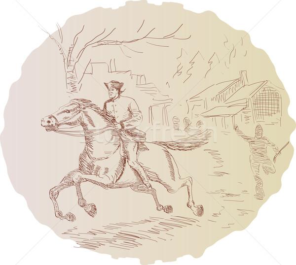 Americano rivoluzione soldato equitazione cavallo illustrazione Foto d'archivio © patrimonio