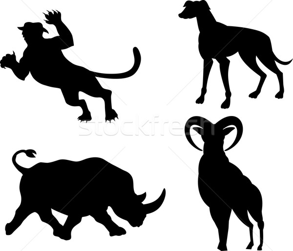 Yaban hayatı siluetleri örnek hayvanlar köpek kaplan Stok fotoğraf © patrimonio