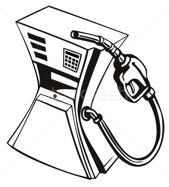 Benzinpumpa állomás fúvóka retro illusztráció benzin Stock fotó © patrimonio