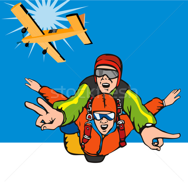 Tandem skydiving illustratie mannelijke vrouwelijke vliegtuig Stockfoto © patrimonio