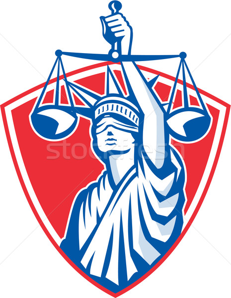 Statue of Liberty Raising Justice Weighing Scales Retro Stock photo © patrimonio