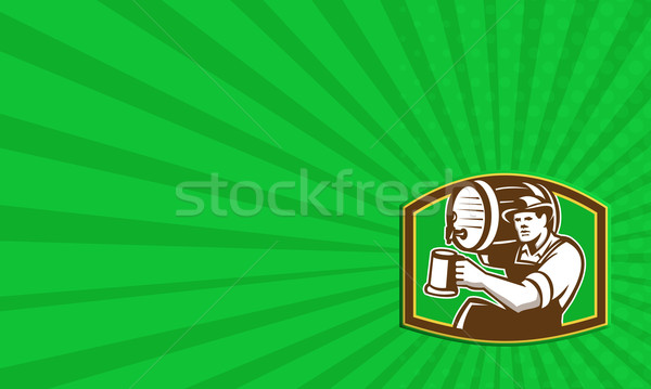 Barman Bartender Pour Beer Barrel Retro Stock photo © patrimonio