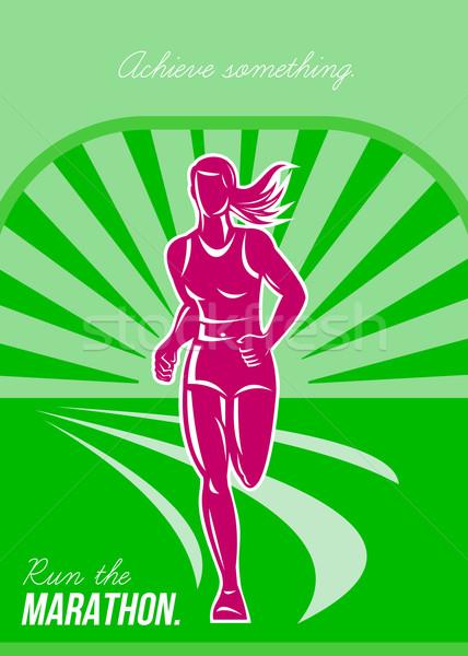 Kadın çalıştırmak maraton Retro poster tebrik kartı Stok fotoğraf © patrimonio