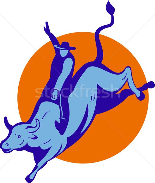 ロデオ カウボーイ 牛 ライディング 実例 レトロな ストックフォト © patrimonio