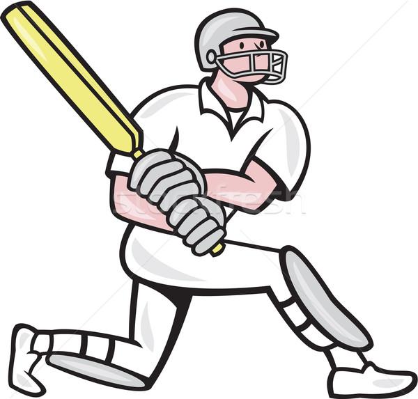 Krikett játékos rajz illusztráció denevér stílus Stock fotó © patrimonio