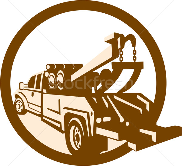 Tow Truck Wrecker Rear Retro Stock photo © patrimonio