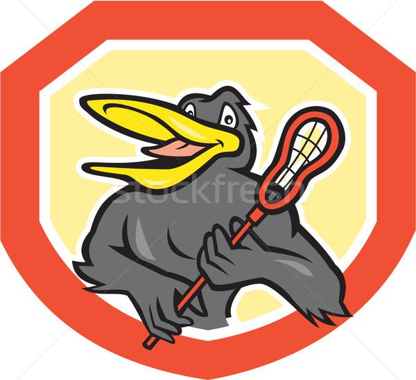 Black Bird Lacrosse Player Shield Cartoon Stock photo © patrimonio
