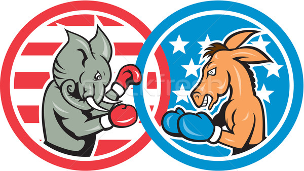 Boxing Democrat Donkey Versus Republican Elephant Mascot Stock photo © patrimonio