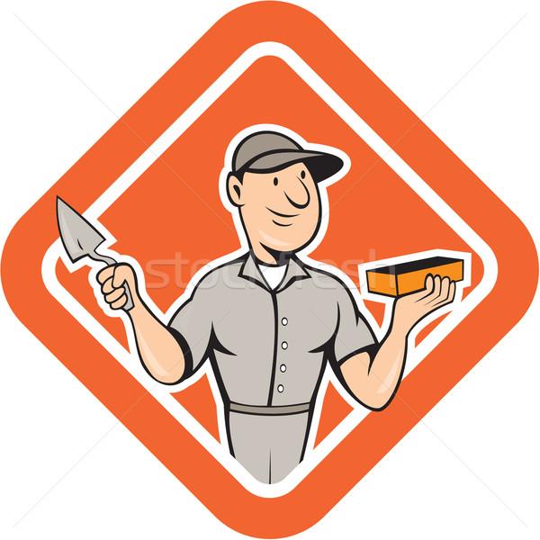 Bricklayer Mason Plasterer Standing Shield Cartoon Stock photo © patrimonio
