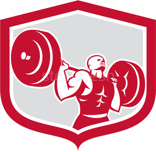 Weightlifter Lifting Barbell Shield Retro Stock photo © patrimonio