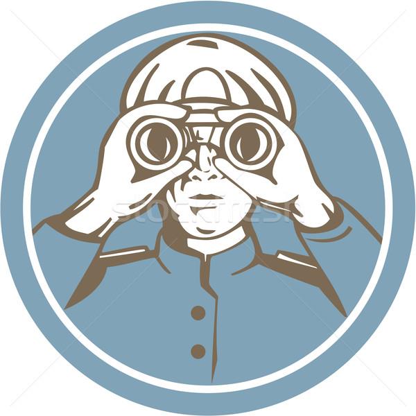 Ship Sea Captain Binoculars Circle Retro Stock photo © patrimonio