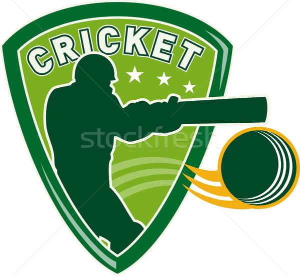 cricket player batsman batting shield Stock photo © patrimonio