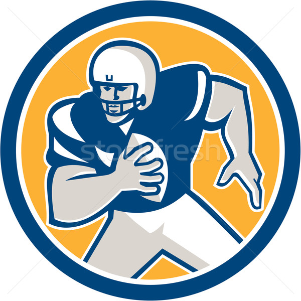 American Football QB Player Running Circle Retro Stock photo © patrimonio
