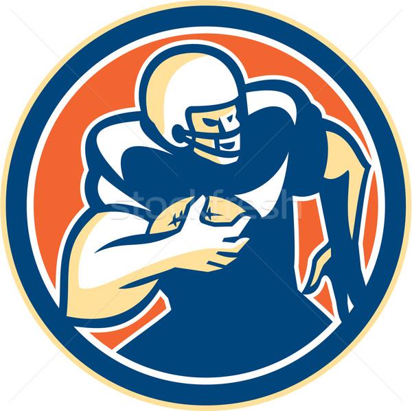 American Football Player Running Circle Retro Stock photo © patrimonio