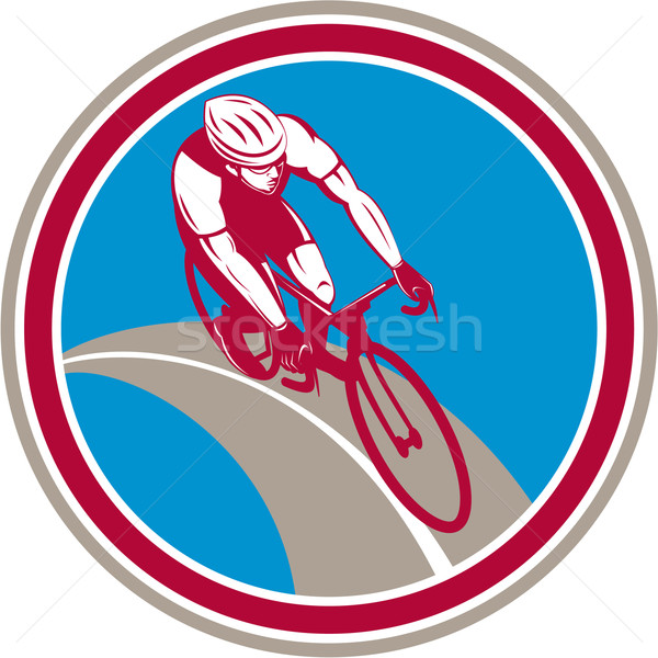 Cyclist Bicycle Rider Circle Retro Stock photo © patrimonio