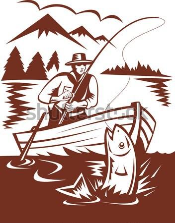 Hunter aiming duck lake mountains Stock photo © patrimonio