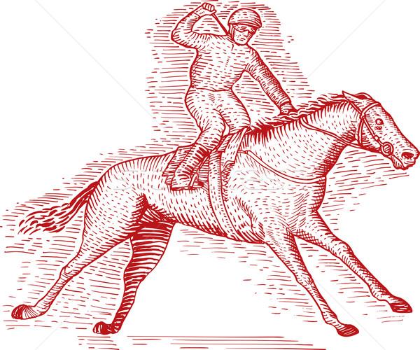 Lóverseny vésés piros fehér illusztráció rajz Stock fotó © patrimonio