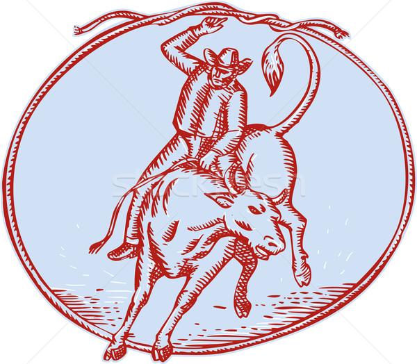Rodeo Cowboy Bull Riding Circle Etching Stock photo © patrimonio