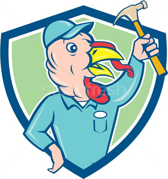 Turkey Builder Hammer Shield Cartoon Stock photo © patrimonio