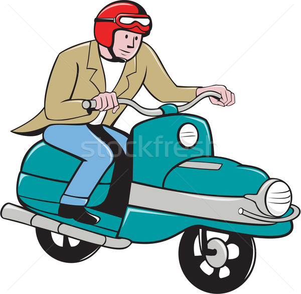 Rider Riding Scooter Isolated Cartoon Stock photo © patrimonio