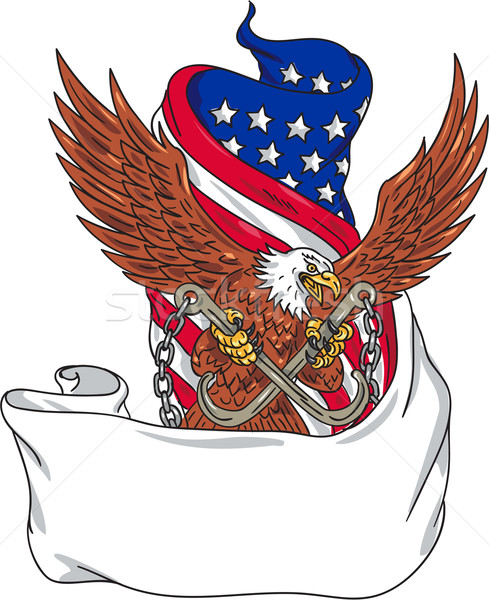 Stock photo: American Eagle Clutching Towing J Hook Flag Unfurled Drawing