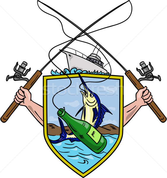 Fishing Rod Reel Blue Marlin Beer Bottle Coat of Arms Drawing Stock photo © patrimonio