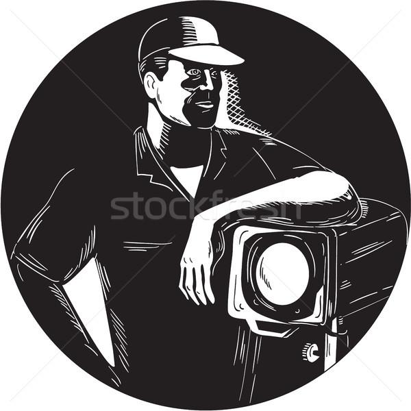 фильма экипаж освещение Spotlight круга иллюстрация Сток-фото © patrimonio