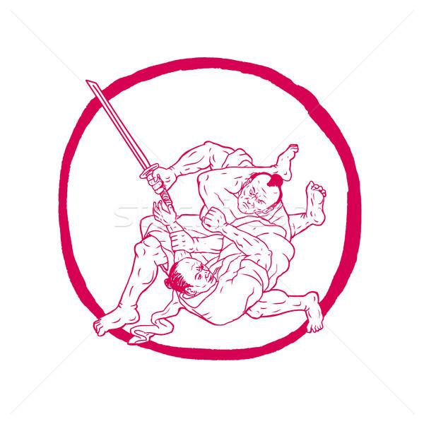 Samurai dibujo boceto estilo ilustración Foto stock © patrimonio