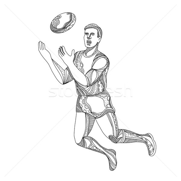 Aussie Rules Football Player Jumping Doodle Stock photo © patrimonio