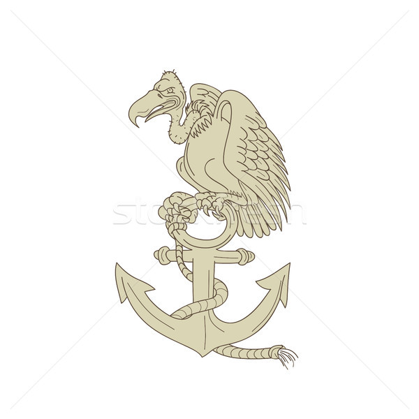 Buzzard Perching Navy Anchor Cartoon Stock photo © patrimonio