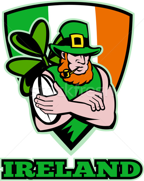 Irish leprechaun rugby player celtic shield Ireland Stock photo © patrimonio