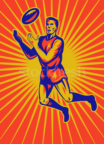 aussie rules player jumping catching ball Stock photo © patrimonio