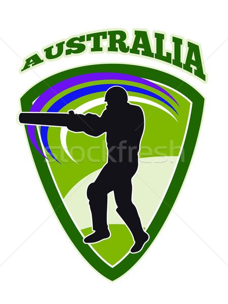 cricket player batsman batting retro Australia Stock photo © patrimonio