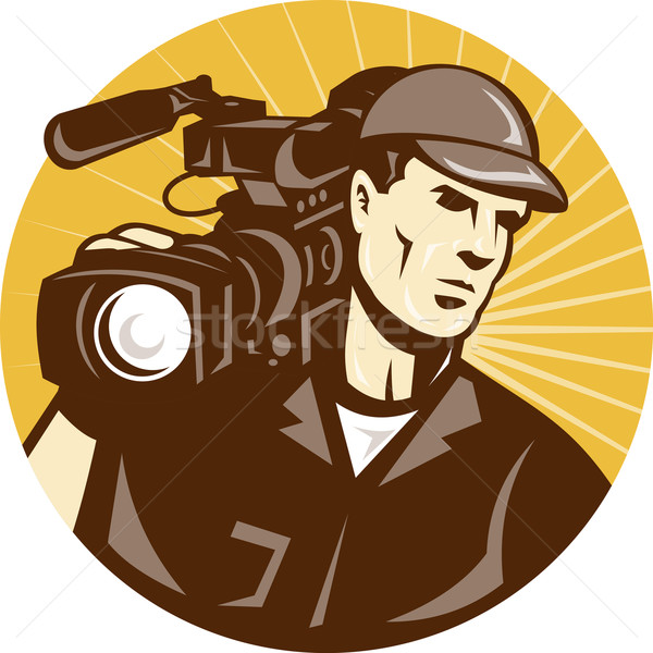 Cameraman Film Crew Pro Video Movie Camera Stock photo © patrimonio
