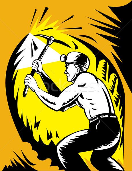 Coal miner at work with pick ax Stock photo © patrimonio