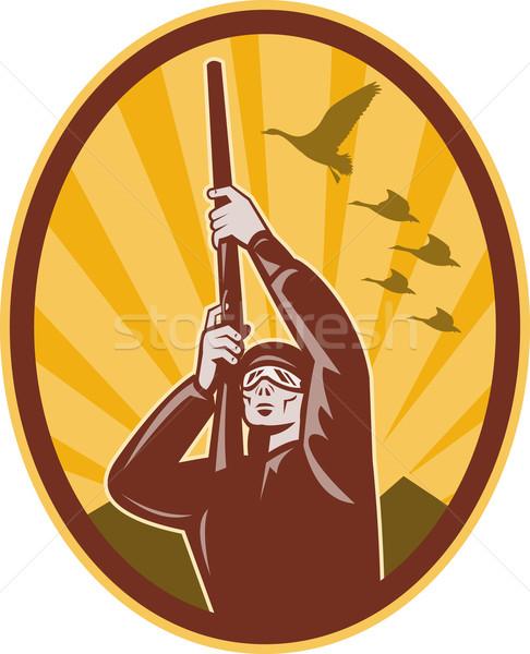 Jager geweer omhoog eend ganzen illustratie Stockfoto © patrimonio