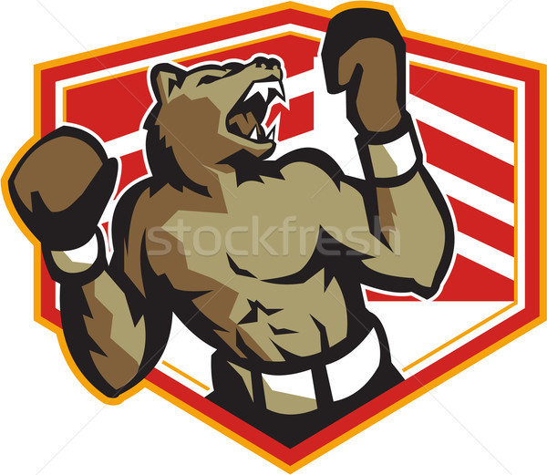 Boos beer bokser boksen retro illustratie Stockfoto © patrimonio