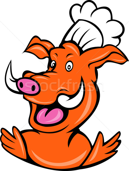 wild pig boar hog chef cook baker arms up Stock photo © patrimonio