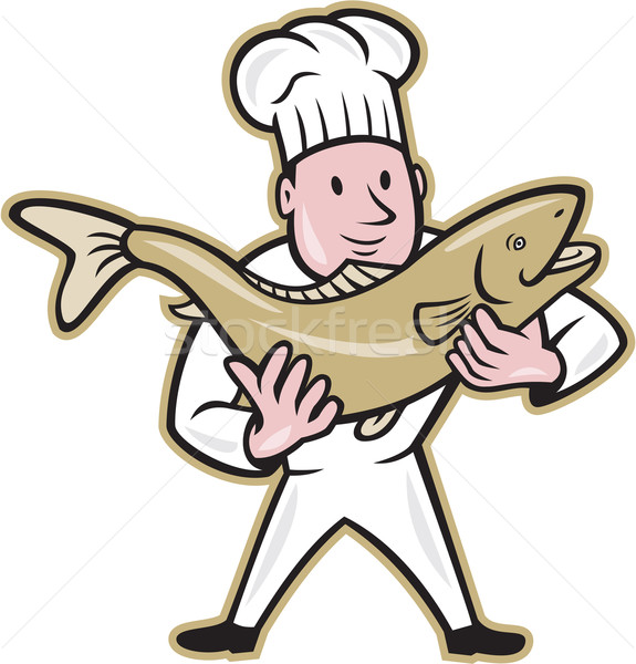 Chef Cook Handling Salmon Fish Standing Stock photo © patrimonio