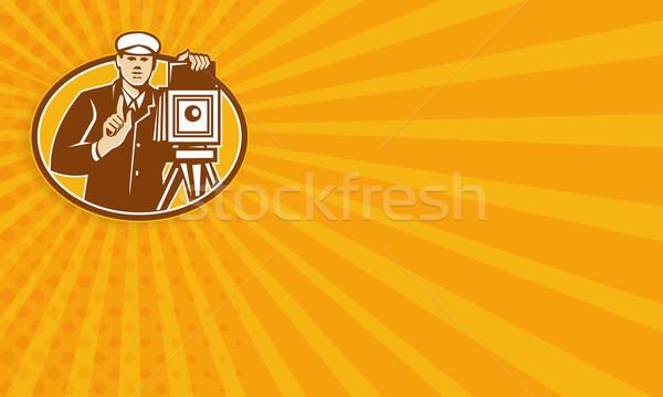 Photographer Vintage Camera Front Retro Stock photo © patrimonio