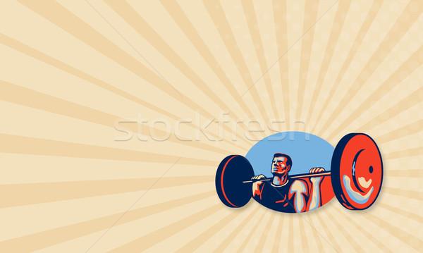 Weightlifter Lifting Weights Retro Stock photo © patrimonio