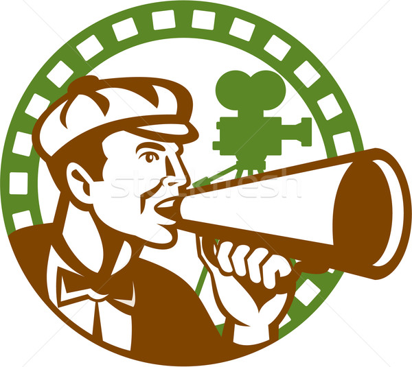 Movie Director Bullhorn Vintage Movie Camera Retro Stock photo © patrimonio
