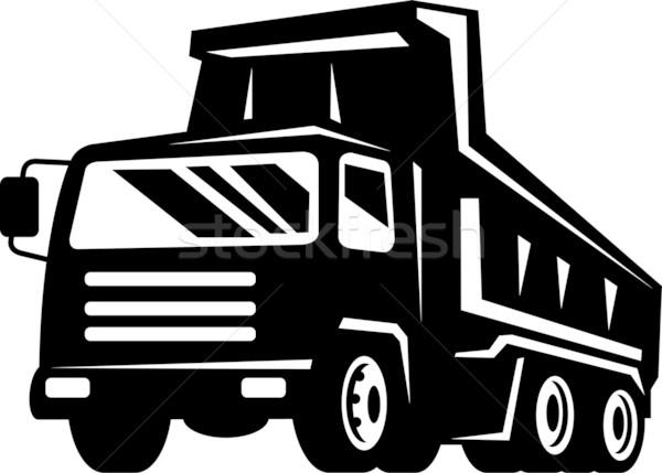 LKW Lastwagen Illustration Vorderseite schwarz weiß Stock foto © patrimonio