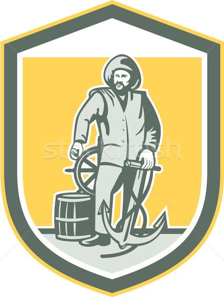 ストックフォト: 漁師 · アンカー · ホイール · シールド · レトロな