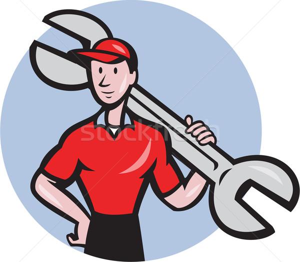 механиком гаечный ключ плечо круга Cartoon Сток-фото © patrimonio