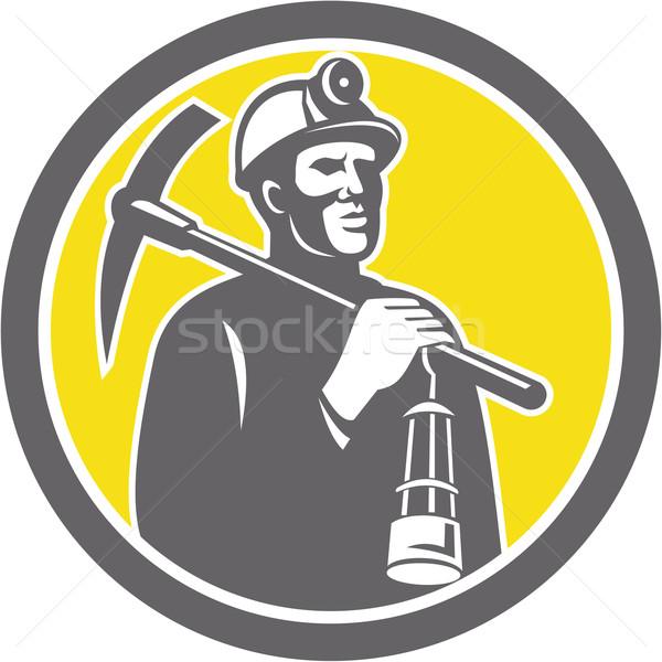Coal Miner Hardhat With Pick Axe Lamp Front Circle Stock photo © patrimonio