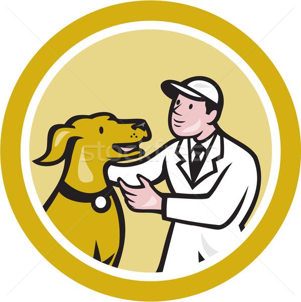 állatorvos állatorvos térdel vmi mellett díszállat kutya Stock fotó © patrimonio