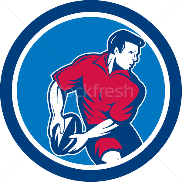 Rugby Player Passing Ball Circle Retro Stock photo © patrimonio
