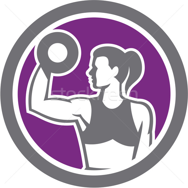 Woman Lifting Dumbbell Weight Physical Fitness Retro Stock photo © patrimonio