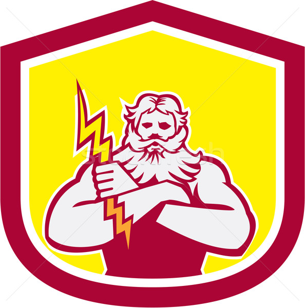 Zeus Greek God Arms Cross Thunderbollt Retro Stock photo © patrimonio